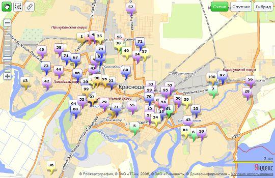Аптеки Краснодара на карте. Нажмите для перехода на карту.
